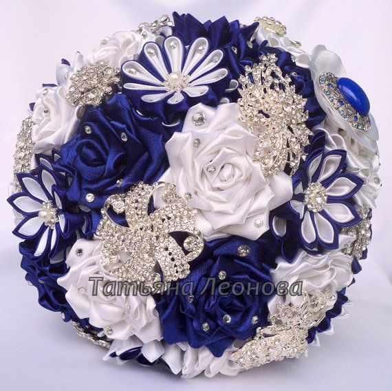 Fabric Wedding Bouquet Brooch bouquet Venus White and by LIKKO, $75.00