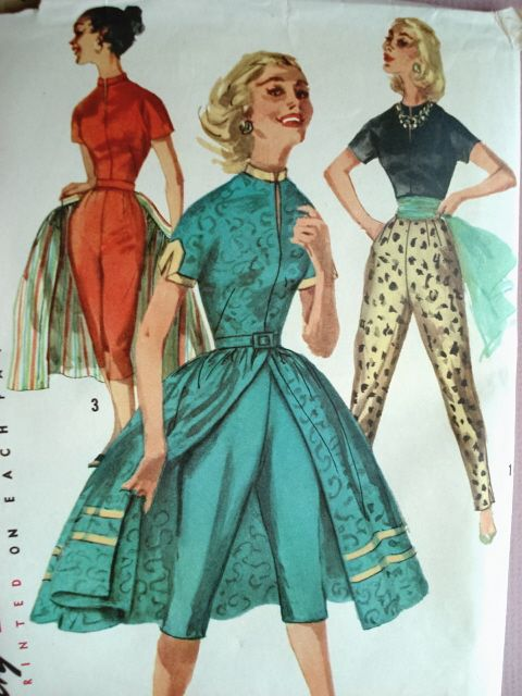 1950s Pattern Capri Pants And Wrap Around Skirt In 2019