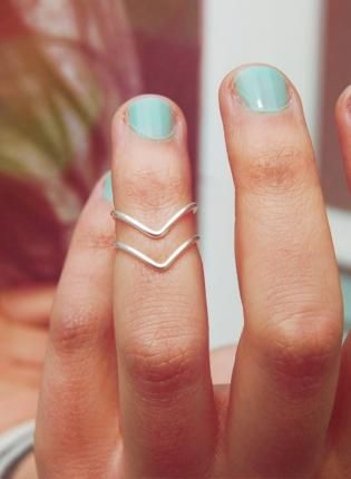 Silver Set of Two Chevron Stackable Knuckle Rings,  Jewelry, knuckle ring  silver ring  chevron, Casual