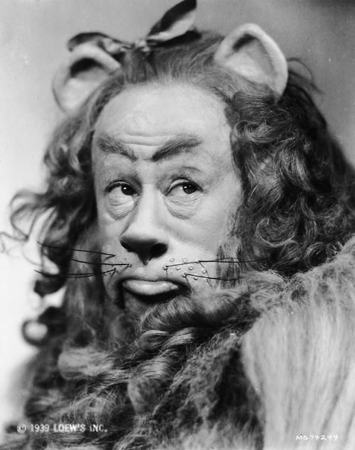 Bert Lahr as the Cowardly Lion in 'The Wizard of Oz', 1939.