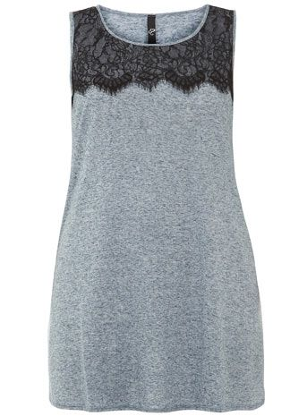 Evans Blue Marl Top with Lace Yoke - Tops & Tunics  - Clothing