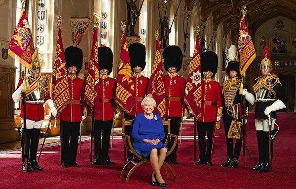 Queen Elizabeth II with Representatives of the 7 Regiments of the Household Division. 2016