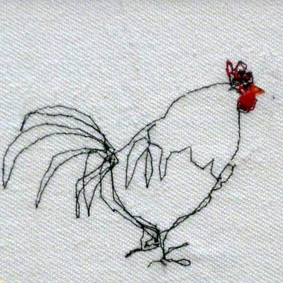 free form stitching. #chicken #rooster #embroidery