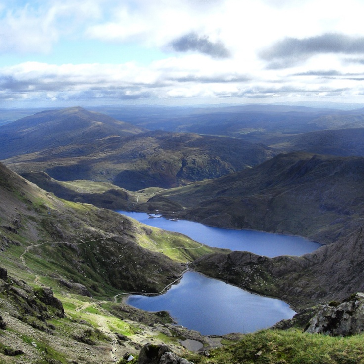 View from the top of Mount Snowdon, Wales. I climbed this with my husband and father in law in 2005.