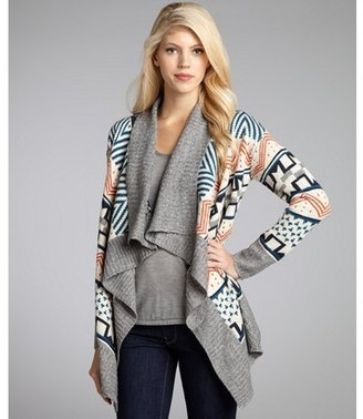 Romeo amp juliet couture grey knit aztec waterfall open front cardigan