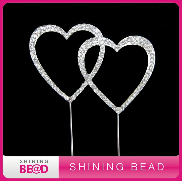 double heart rhinestone cake topper for wedding,free shipping,shiny double heart rhinestone cake topper
