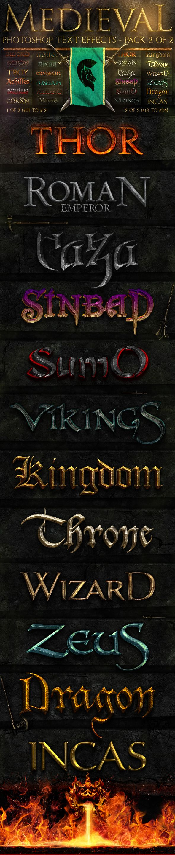 Medieval Photoshop Text Effects 2 of 2 - Text Effects Styles