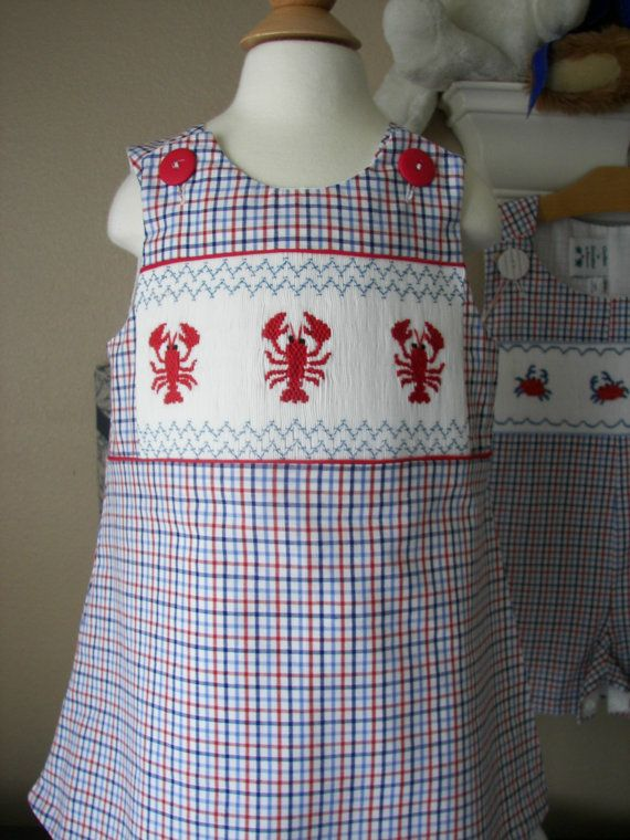 Girls Smocked  Dress  LOBSTERS by reetmomma on Etsy, $52.00