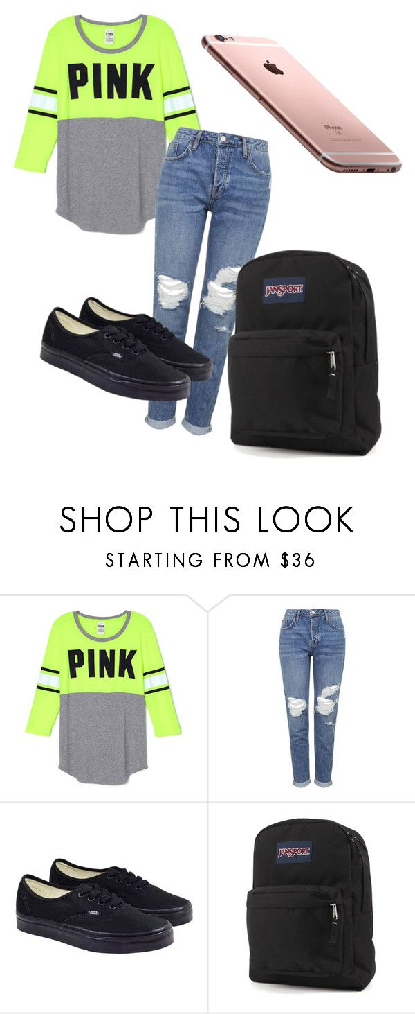 """School ootd"" by glamnoodle ❤ liked on Polyvore featuring Topshop, Vans and JanSport"