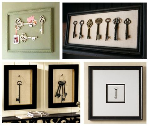 Framed Key Art  Sometimes quantity in a collection is unnecessary. I love the look of a single object or group of objects hovering in a frame. The focus given to a seemingly mundane object once it's framed is mysterious and visually quite interesting. Placing a small collection of keys in to a framed wall piece is a quick and easy way to display the objects.