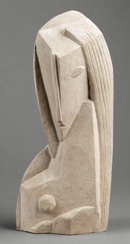 Henri Laurens, Tete de Femme (Frauenkopf), 1920, 35 x 14.5 x 10 cm (incl. Base), Terrakotta. Centre Pompidou – Musée national d'art modern