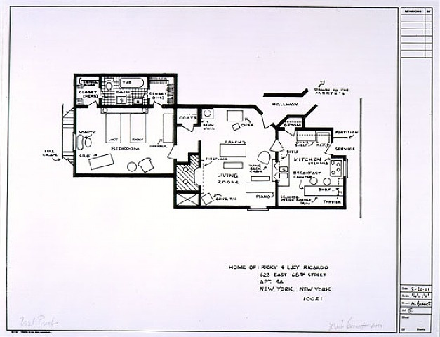 Floor plan for the home of Lucy and Ricky Ricardo
