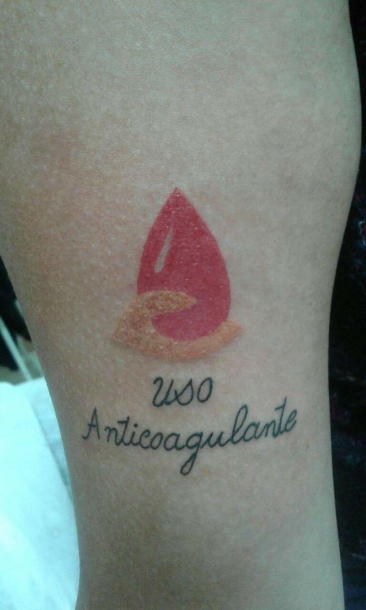 #tattooalert #onbloodthinner   alerta médico uso anticoagulante