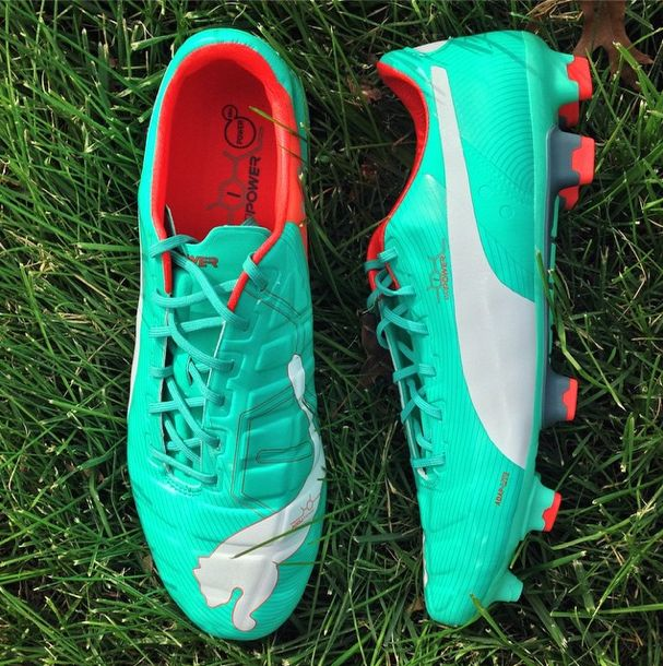 "PUMA refreshing ""pool green"" version of the #evoPOWER #cleats #soccer #football #soccerdotcom"