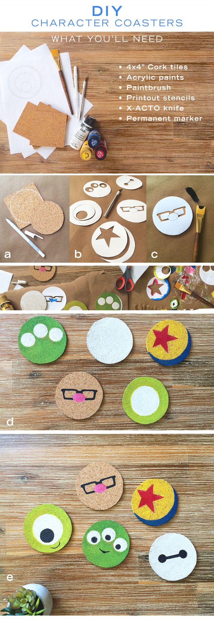 DIY: Minimalist Disney and Disney Pixar character coasters | Monsters Inc. + UP + Big Hero 6 + Toy Story decor | [ https://style.disney.com/living/2016/07/01/diy-minimalist-character-coasters/ ]