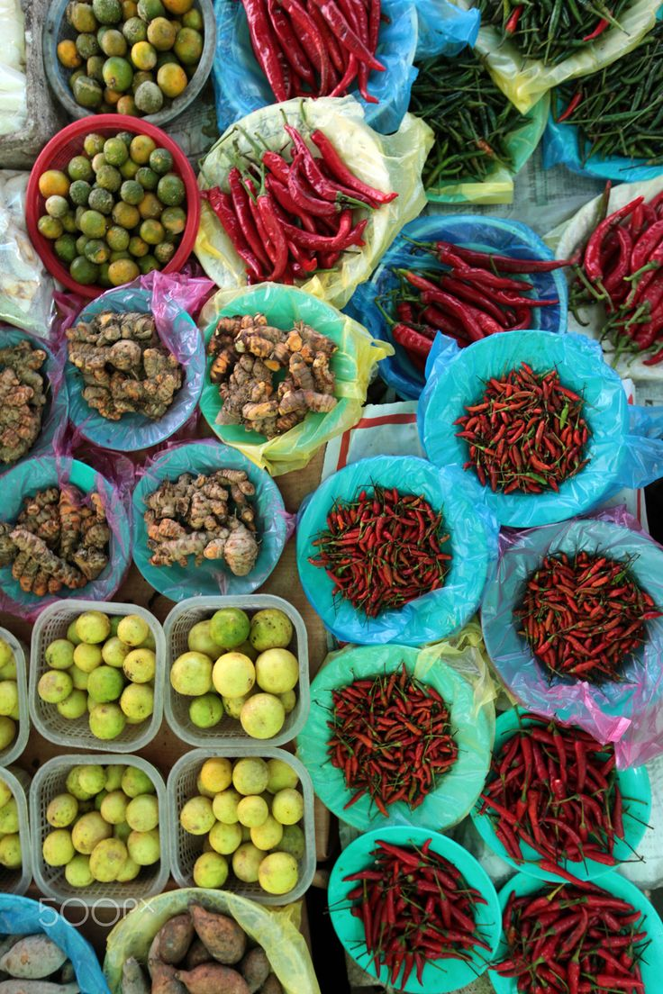 Vegetables and fruit at the market in the city of Bandar Seri Begawan, Brunei, Borneo region, Southeast Asia.