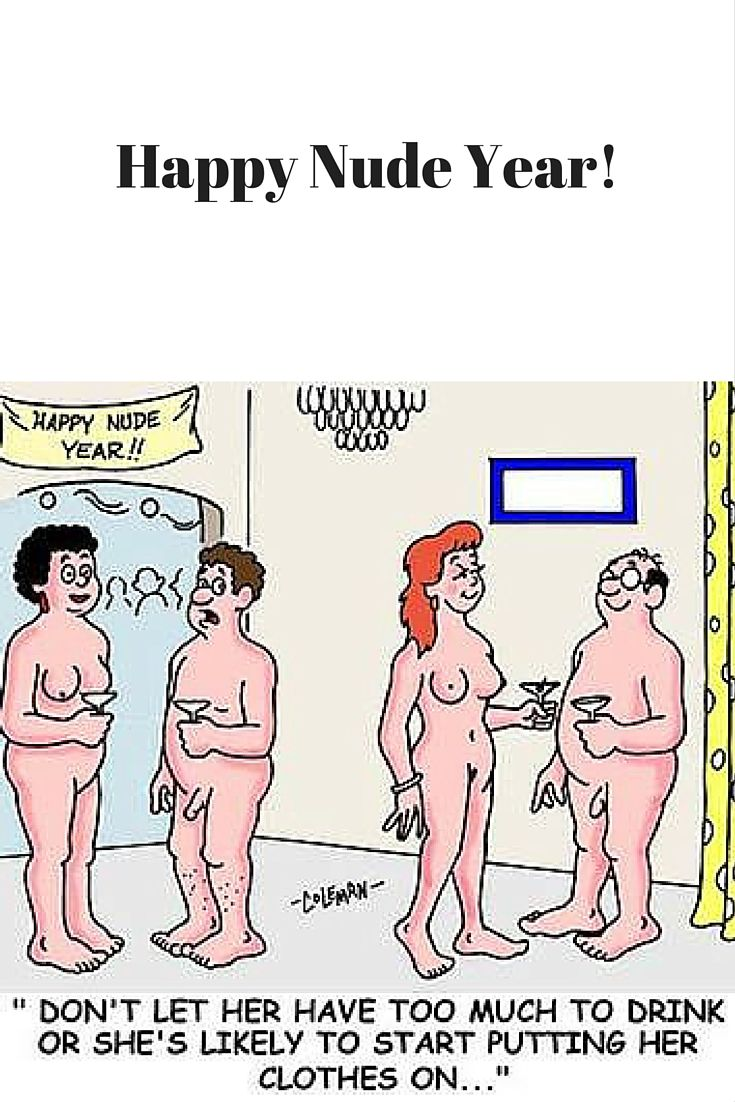 Happy Nude Year Adult Funny Cartoon  Naturism -9541