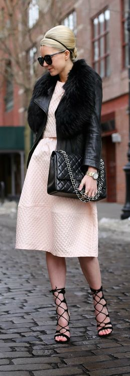 Street style fashion / karen cox. pink dress and black Puff / Alantic-Pacific