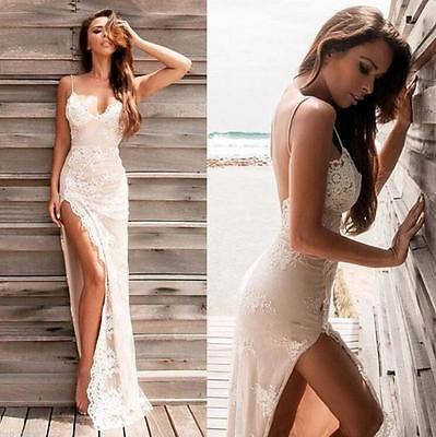 Details about Sexy Beach Chiffon Wedding Dresses Lace Spaghetti Straps Split Side Bridal Gown