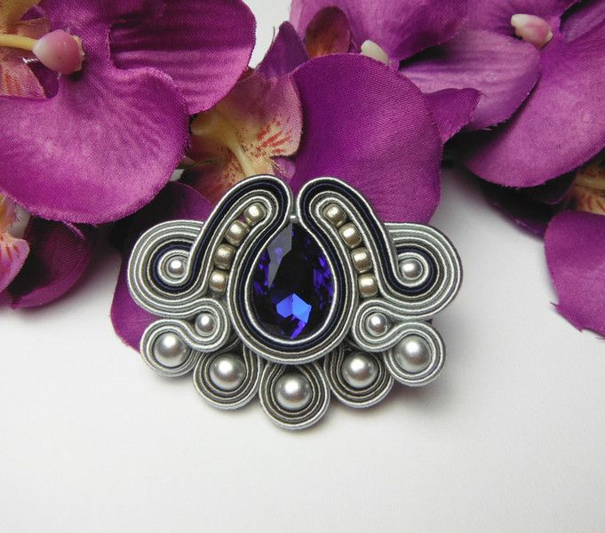 Buttons – Soutache BROOCH hand-made silver black cobalt – a unique product by Soutacheria on DaWanda