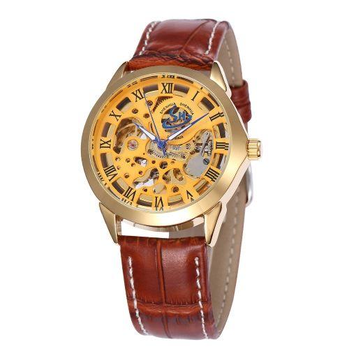 Shenhua Люксовый бренд Skeleton Automatic Man Женские механические наручные часы Кожа PU автоподзаводом Casual Часы
