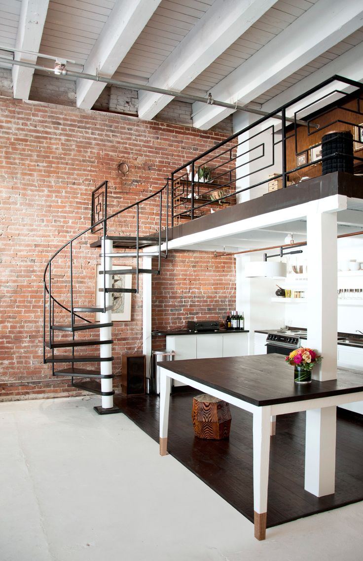 #Mezzanine study over kitchen. Love the industrial pipework & way the dining table is built around one of the mezzanine supports. Codor Design | Floor 13