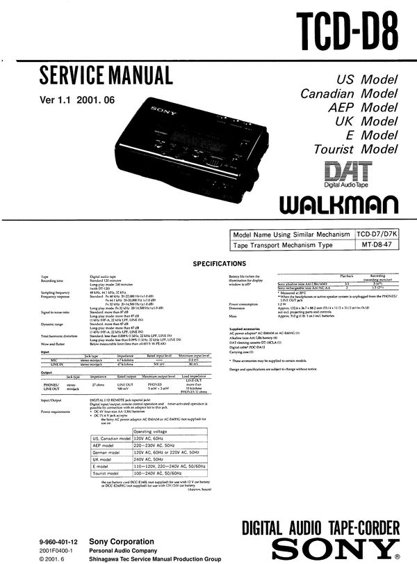 Sony TCD-D8 DAT , Original Service Manual PDF format suitable for Windows XP, Vista, 7 DOWNLOAD