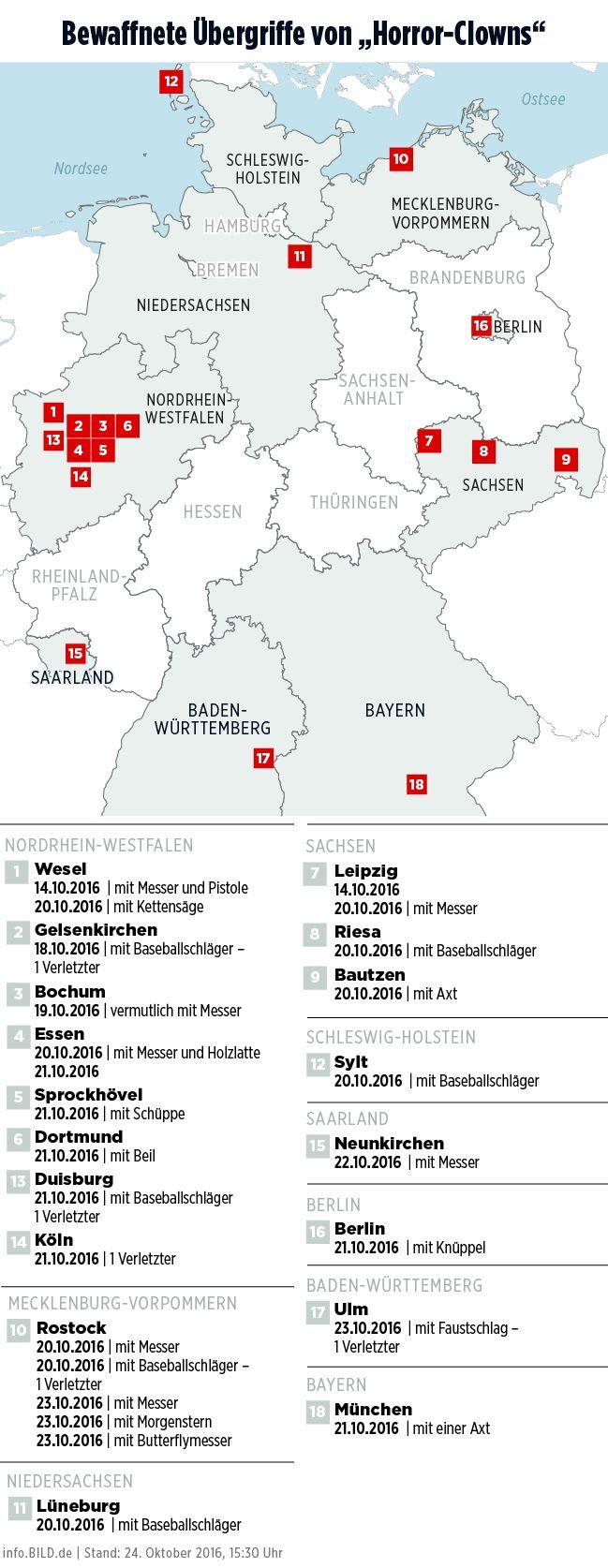 Übergriffe von Killer-Clowns in Deutschland - info.BILD