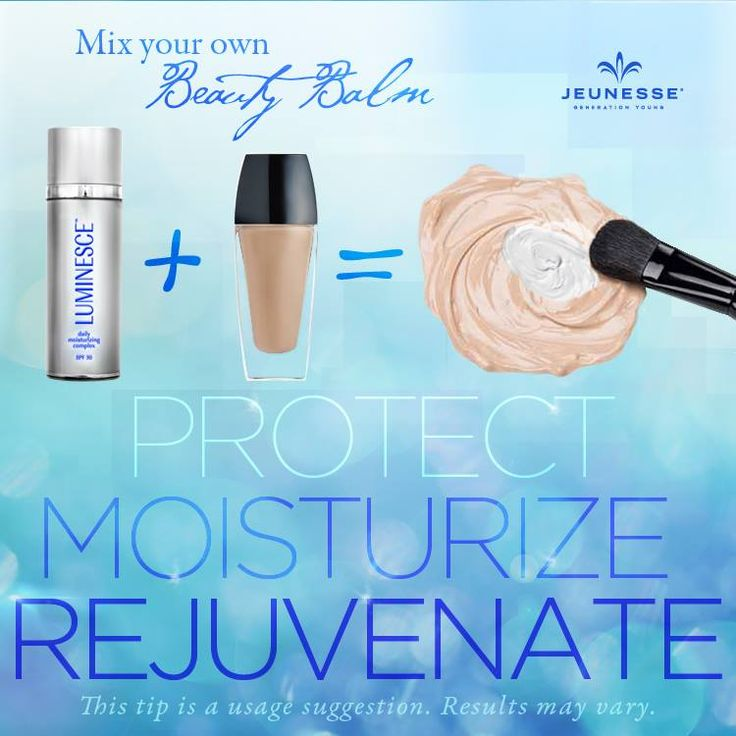 Keep your skin glowing when you head outdoors. Add one pump of #LUMINESCE daily moisturizing complex to your foundation to create a multi-tasking all-in-one treatment. SPF + moisturizer + anti-aging properties work together to help reveal a healthier looking, more youthful complexion.   *This is a usage suggestion *Results may vary.  www.jenniferbarner.jeunesseglobal.com
