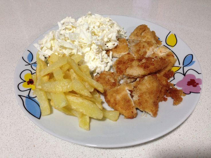 """Chicken escalope """"home made"""" with coleslaw & fries on the side"""