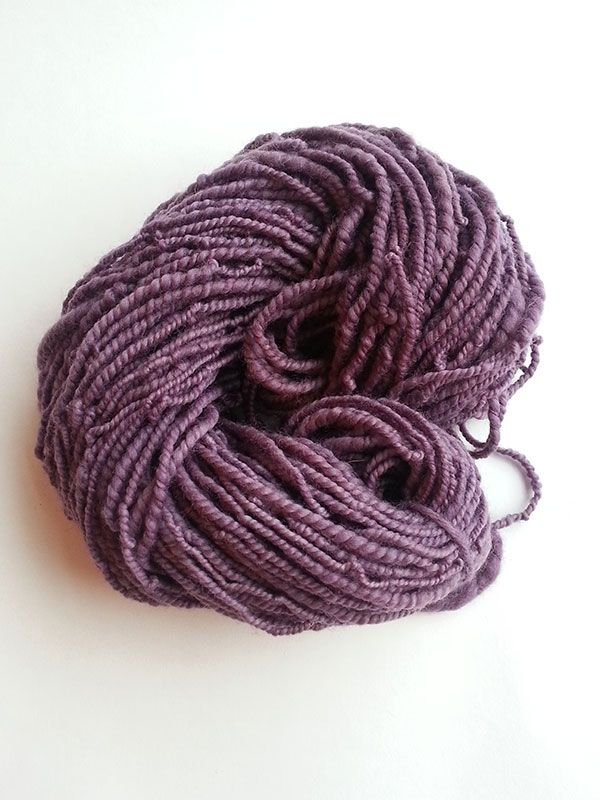 White Corriedale hand spun yarn - hand dyed with logwood purple natural plant dye.