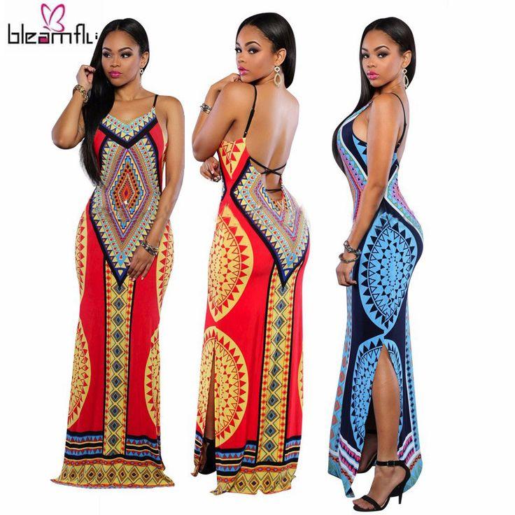 Kadınlar için afrika Elbiseler Dashiki Geleneksel Elbise Hippi Tarzı Seksi Uzun Hint Giyim Baskı Kadın Nedensel Backless Robe