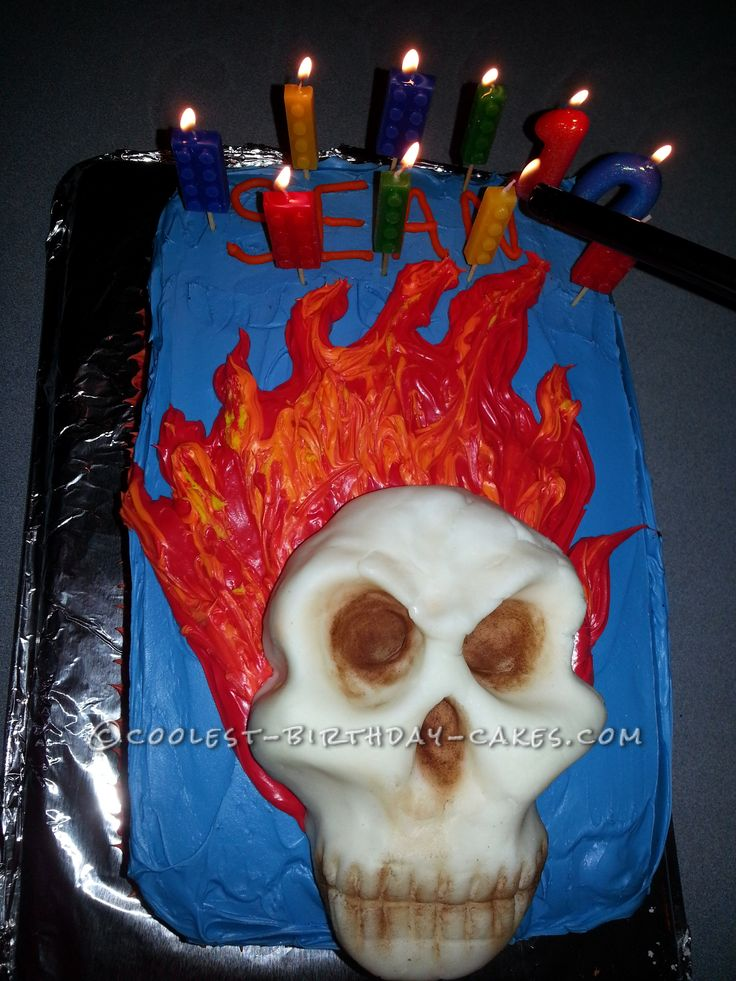 Cake Ideas For A Seven Year Old Boy : Super-Cool Flaming Skull Cake for 10-Year-Old Boy Cake ...