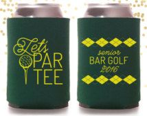 Bar Golf Tournament Bachelor Party or Birthday Argyle Custom Can Cooler Beer Cozy