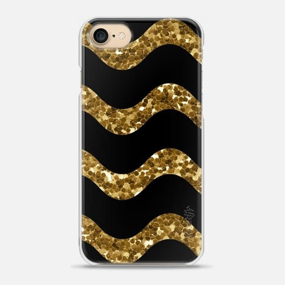 Casetify iPhone 7 Snap Case - Elegant Gold Glitter Black Chevron by Mya