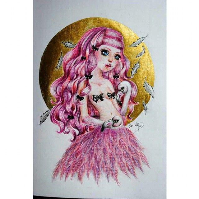 Lady #flamingo is done I'm inpired by @serenasolangecarluccio artwork. I really love the final result ..and you? . . . #Design #art #animal #artfido #Artwork #arts_help #art_spotlight #bird #illustrator #illustration #painting #paint #drawing #draw #instalike #instadraw #micron #colorful #cartoon #comix #manga #anime #mangagirl #pink #strange #beautifulandsmart #beautifulbizarre #followme