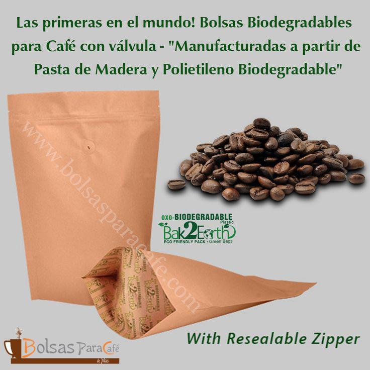 """Las primeras en el mundo! #Bolsas #Biodegradables para #Café con válvula - """"#Manufacturadas a partir de Pasta de Madera y Polietileno Biodegradable"""" Con el incremento en la demanda de productos Biodegradables, se ha incrementado también la demanda de Bolsas Biodegradables para Café con Válvula. Proveemos soluciones para empacado rápidas, fáciles de usar y de la mejor calidad. Más detalles en www.bolsasparacafe.com/bolsas-para-cafe-con-valvula/"""