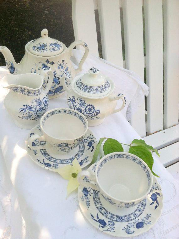 Set of 9 Pieces Antique Ju0026G Meakin Blue Nordic by MariasFarmhouse $150.00 & 69 best J u0026 G Meakin images on Pinterest | Dishes Tea pots and Teapot