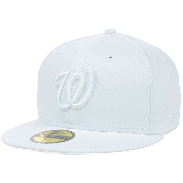 New Era Washington Nationals White-On-White 59FIFTY Cap (€30) ❤ liked on Polyvore featuring accessories, hats, white, washington nationals hat, cap hats, white hat, white cap and new era hats