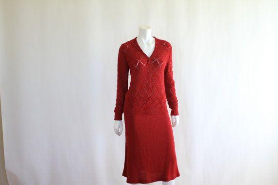 Vintage 1970s Knit dress  Wine 2 Piece  It's Pure by ladyscarletts, $95.00