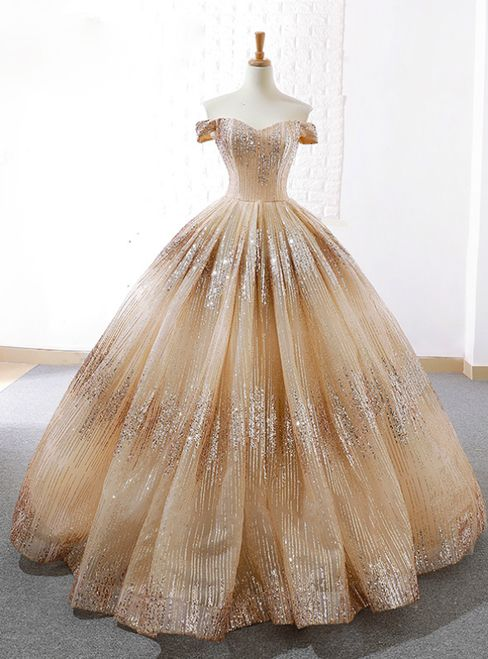 Gold Ball Gown Off The Shoulder Sequins Floor Length Wedding Dress ... 4106d2bf35f5
