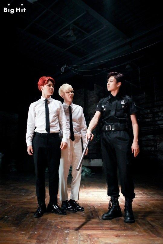 Officer Jungkook + Jimin and Suga judging #BehindtheSceneofSick