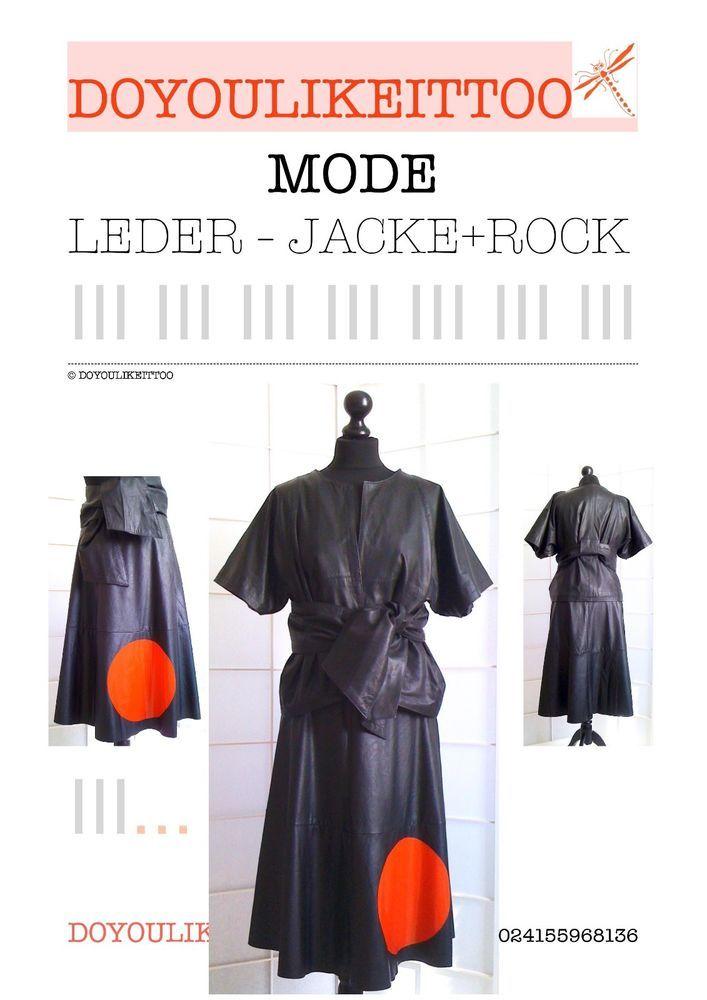 NEU ! Kombination: LEDER-JACKE + KUNSTLEDER-ROCK, schwarz/rot, Größe 36/38,  in Kleidung & Accessoires, Damenmode, Anzüge & Kombinationen | eBay!