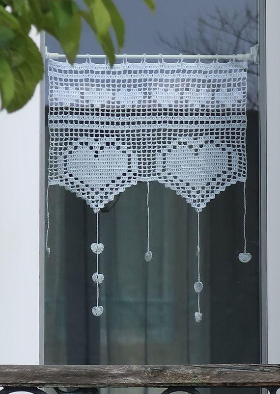 28 - Patron crochet tutoriel de rideaux brise bise au crochet motifs coeurs