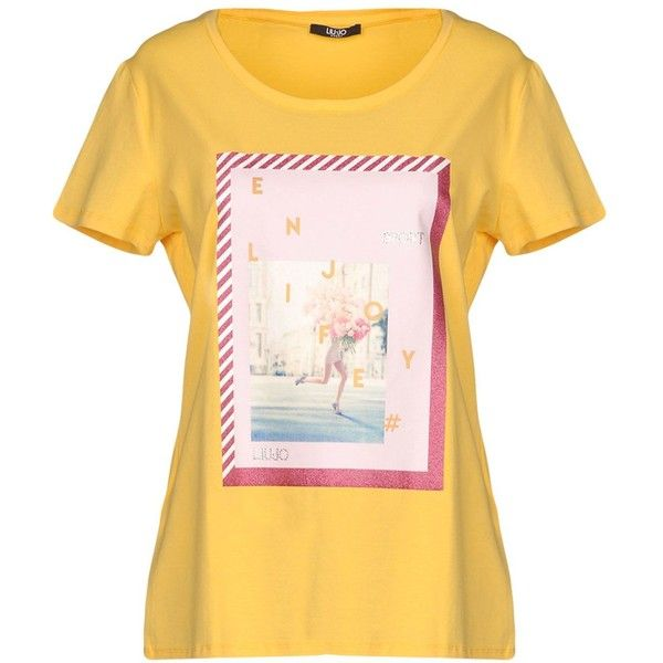Liu •jo Sport T-shirt (£34) ❤ liked on Polyvore featuring tops, t-shirts, yellow, short sleeve tops, cotton t shirts, short sleeve cotton tops, yellow t shirt and print t shirts