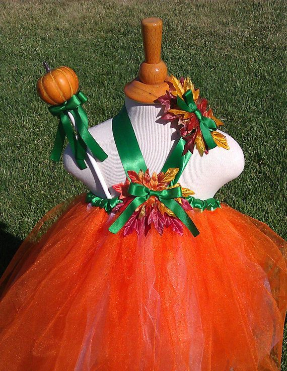 Pumpkin Tutu With Wand And Hair Bow Halloween Costume Size