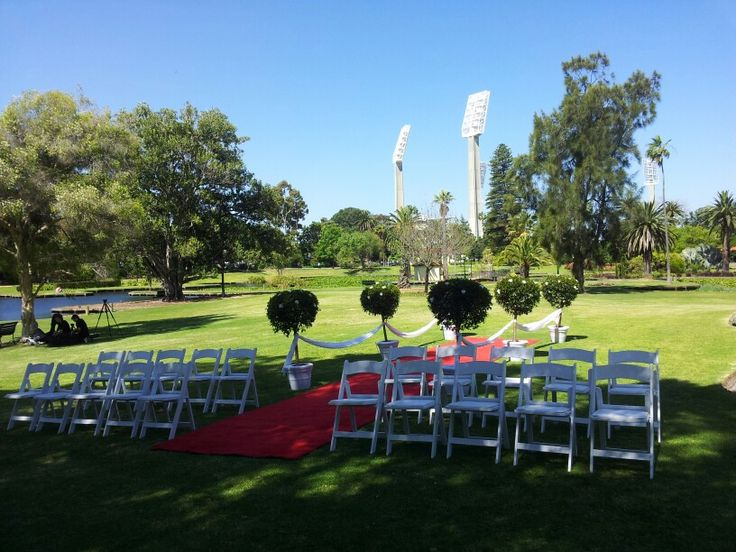 The waca in the background. Wedding ceremony in the queens gardens in east perth.