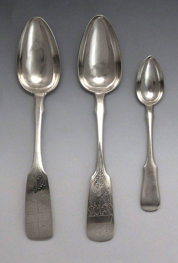 3 Antique 19th Century Hand Engraved Russian Silver Serving