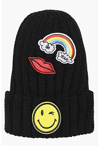 Ebony Rainbow Kiss Smiley Patch Beanie Hat