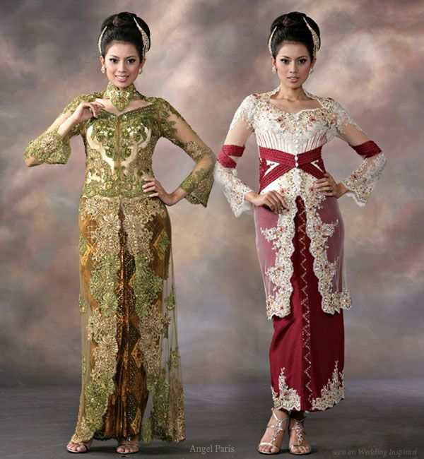 Green long traditional wedding dress, red and white indonesian malay wedding costume
